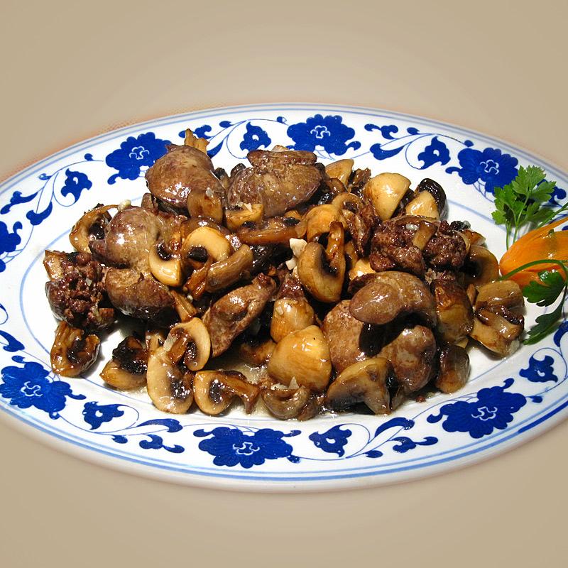 Mancare chinezeasca Ficat de pui cu ciuperci