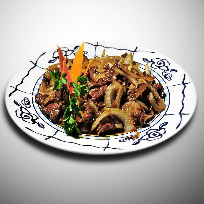 Mancare chinezeasca Vita cu ceapa prajita